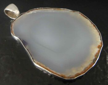 agate slice gray pendant in sterling silver
