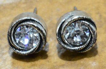 """Rosebud stud earrings in color palette """"All Crystal"""" by Patricia Locke"""