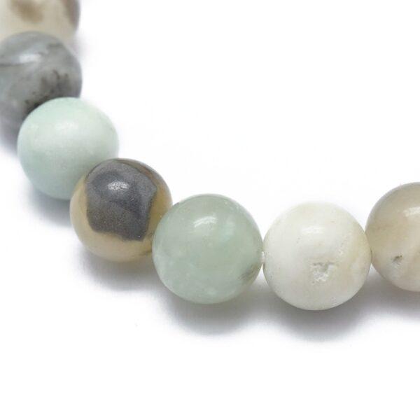close up of amazonite gemstone stretch bracelet