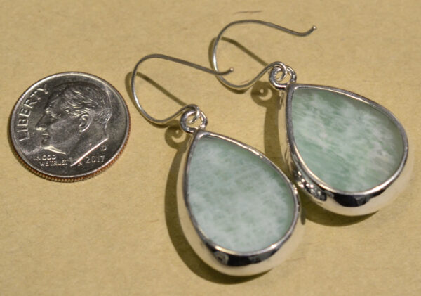 back of blue amazonite drop earrings with dime