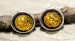 yellow flecked amber circle earrings