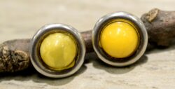 yellow amber circle earrings