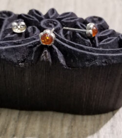 petite amber flower stud earrings