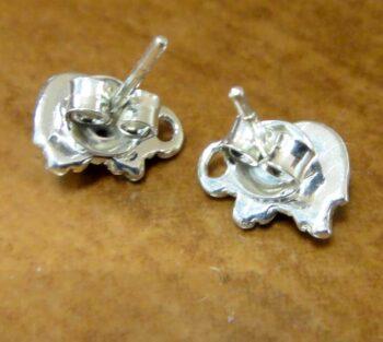 back of amber elephant stud earrings