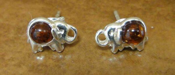 amber elephant stud earrings