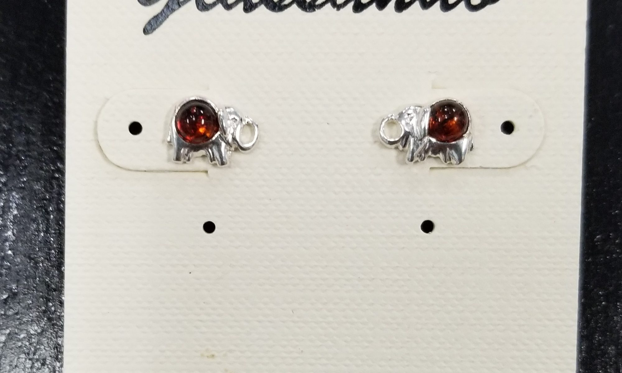 baltic amber and sterling silver elephant stud earrings