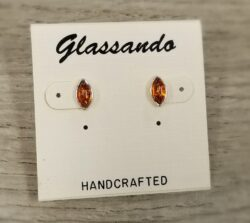 Honey Brown Baltic amber and sterling silver post earrings