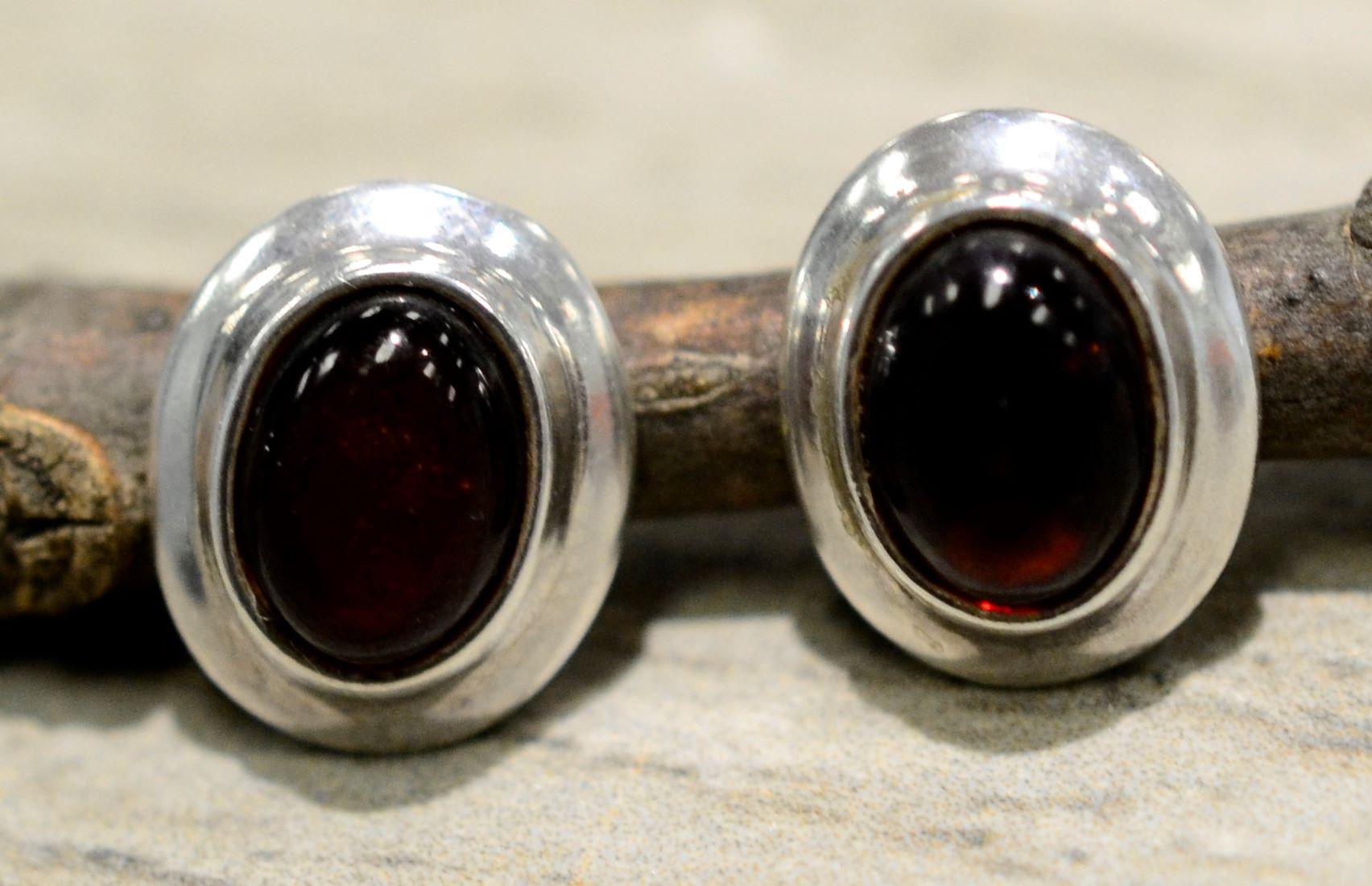 handmade amber oval earrings