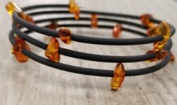 Honey Baltic amber chip and rubber wrap bracelet