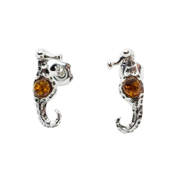 amber seahorse and sterling silver post earrings
