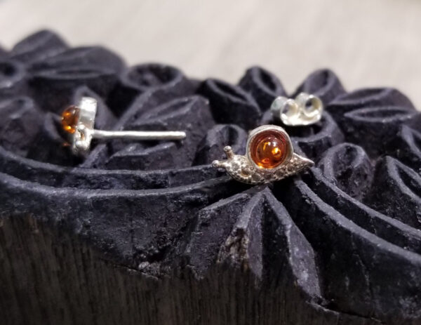 Baltic amber snail earrings