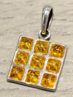 Handmade lemon Baltic amber square and sterling silver pendant
