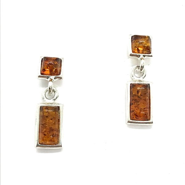 amber square and rectangle post earrings with dangle
