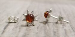 Baltic amber sun petite post earrings