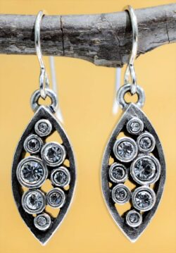 Patricia Locke Amelie silvertone drop earrings in All Crystal