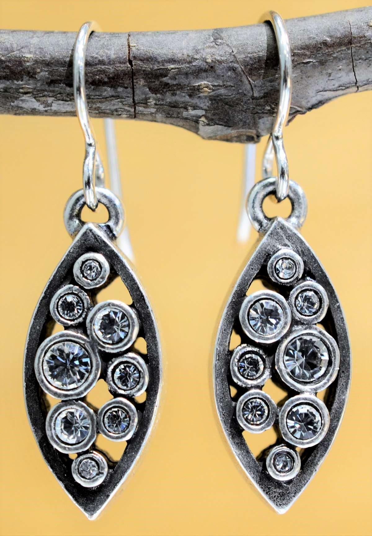Patricia Locke Amelie silvertone drop earrings in All Crystal