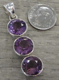 Amethyst three stone sterling silver pendant with dime for scale