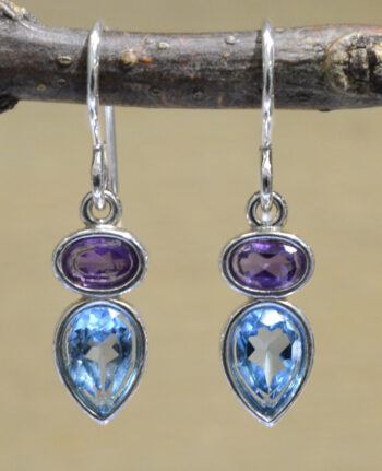purple amethyst and blue topaz petite drop earrings