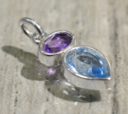Sierra Designs amethyst and blue topaz silver petite drop pendant