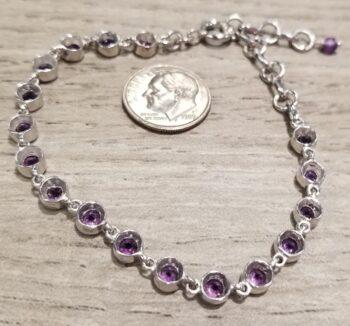 back of amethyst and silver bracelet