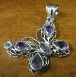 amethyst sterling silver butterfly pendant