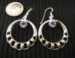 amethyst sterling silver circle earrings