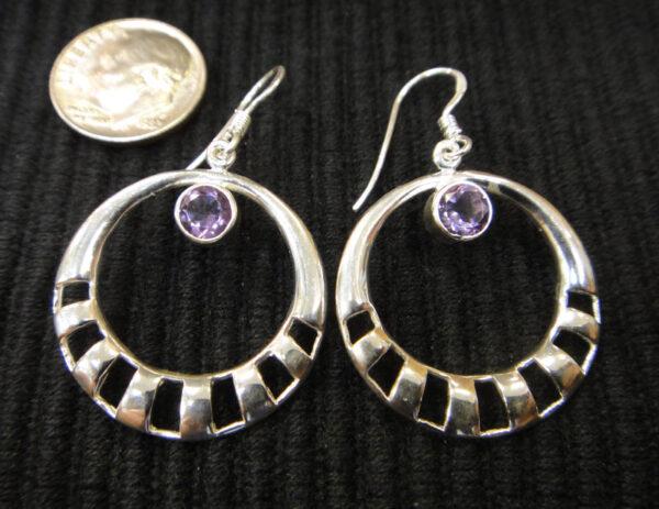 amethyst sterling silver circle earrings