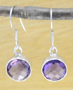 handmade circular amethyst and sterling silver earrings