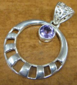amethyst and sterling silver circle pendant