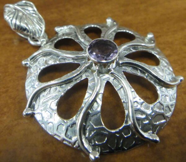 amethyst sterling silver textured circle pendant