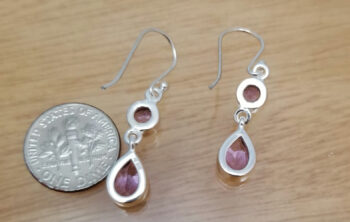 back of amethyst and sterling silver earrings with dime for scale