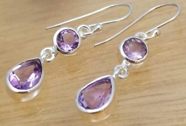 amethyst two stone dangle earrings