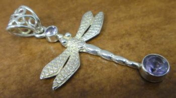 amethyst dragonfly sterling silver pendant