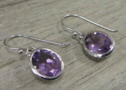 Handmade purple amethyst and sterling silver oval drop earrings
