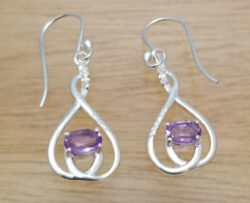 amethyst and sterling silver drop earrings