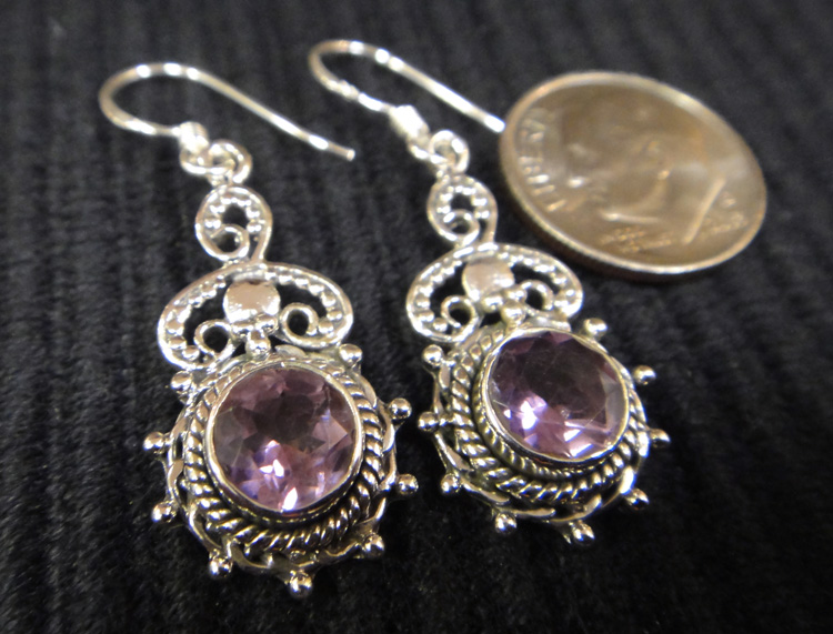 purple amethyst and sterling silver handmade dangle earrings with dime for scale