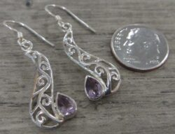 amethyst filigree sterling silver earrings with dime for scale
