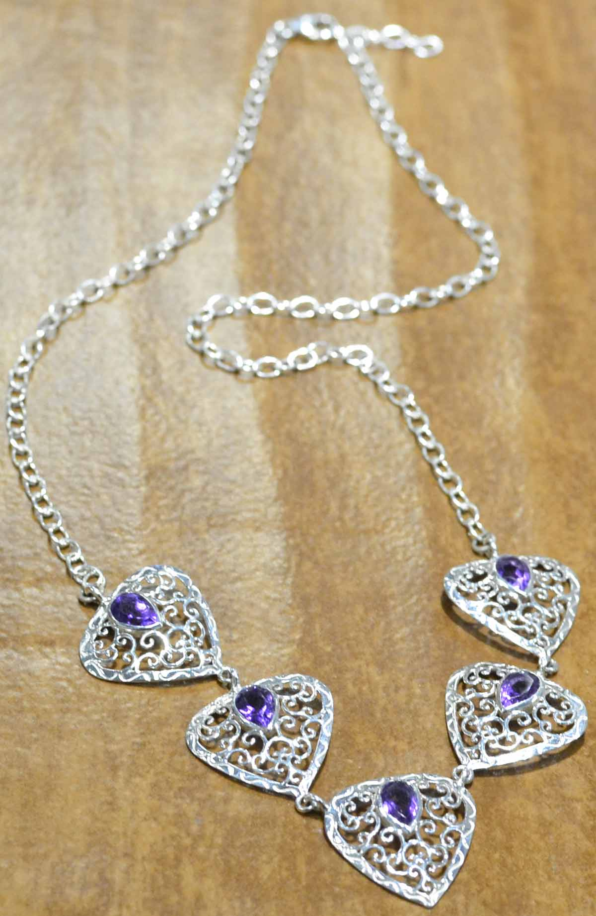 Amethyst and sterling silver filigree necklace