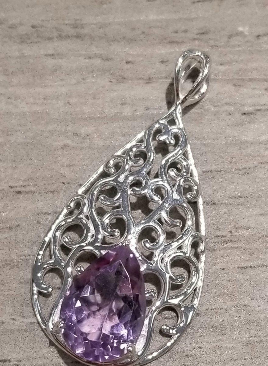 amethyst filigree sterling silver drop pendant