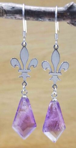 Handmade amethyst and sterling silver fleur de lis earrings