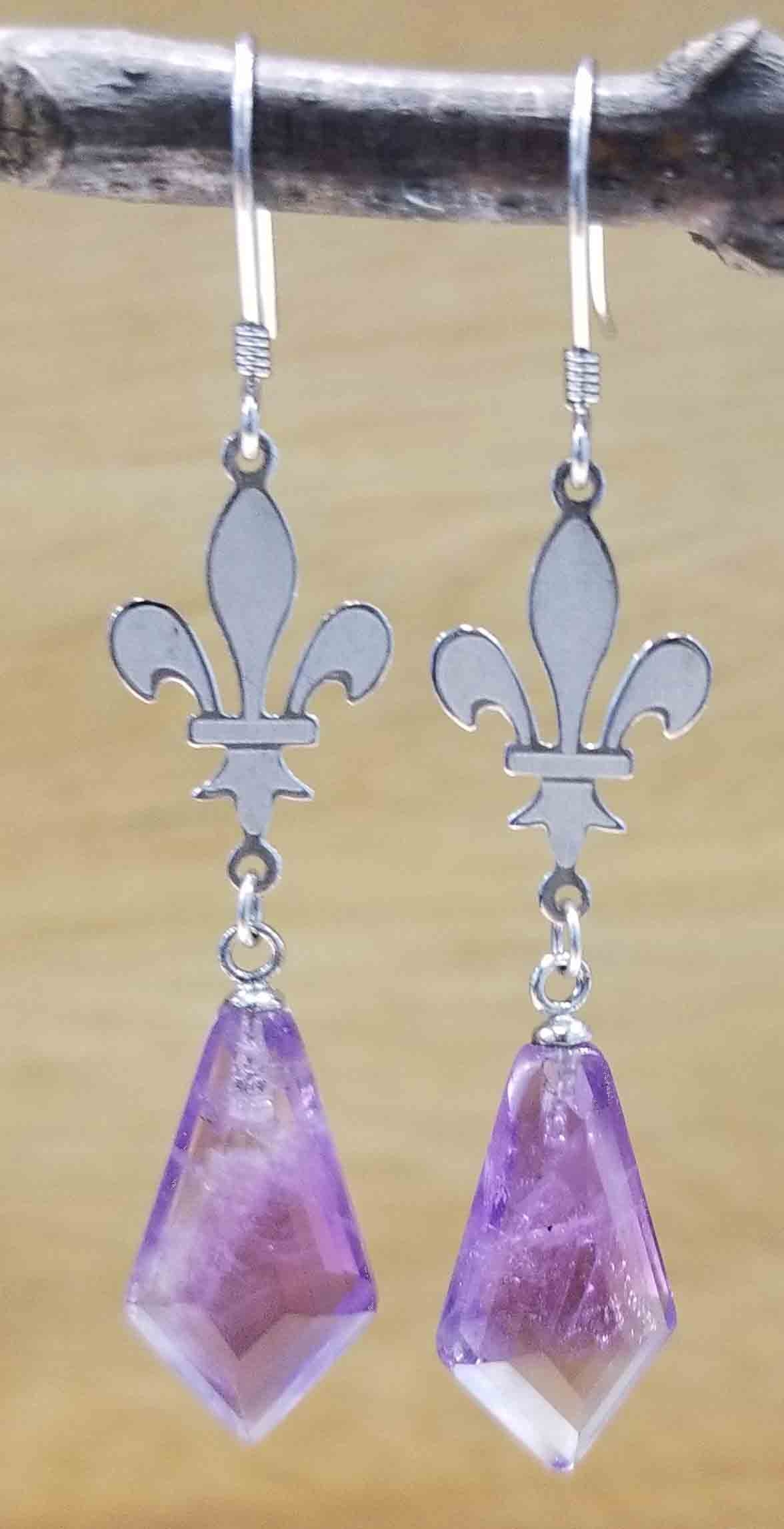 Handmade amethyst and sterling silver fleur de lis earrings