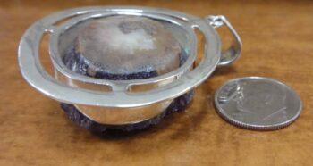 Amethyst geode crystal druzy pendant back view