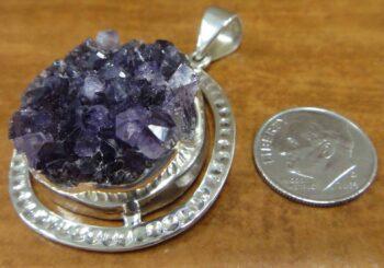 Purple amethyst geode crystal druzy pendant