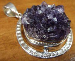 big amethyst geode druzy crystal pendant