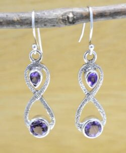 Handmade purple amethyst and .925 sterling silver dangle earrings