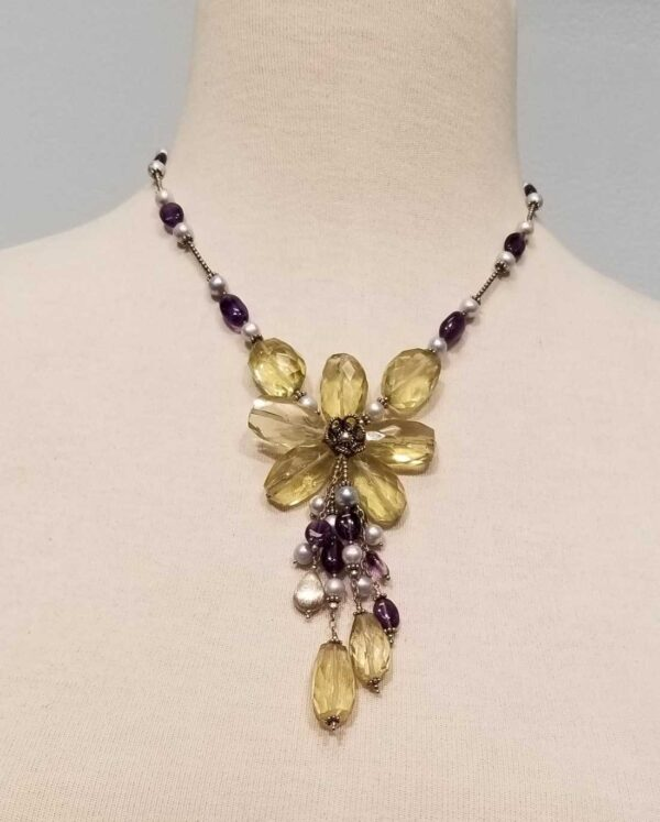 lemon quartz, amethyst, fresh water pearl flower necklace