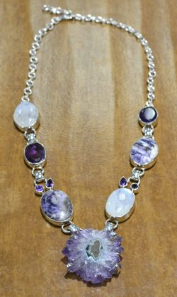 Amethyst, rainbow moonstone, tiffany stone. and sterling silver handmade necklace