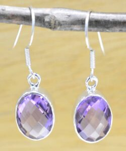 handmade purple amethyst and sterling silver drop earrings