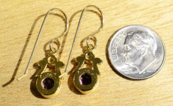 back of Handmade amethyst, pearl, and 14k gold vermeil earrings, shown with dime (not included) for size comparison