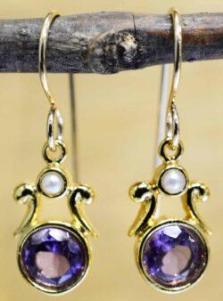 Handmade amethyst, pearl, and 14k gold vermeil earrings